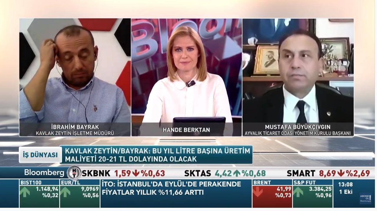 Başkanımız Mustafa Büyükçıvgın Bloomberg HT Tv'de Hande Berktan'ın sunduğu İş dünyası Programına canlı yayın  konuğu oldu.