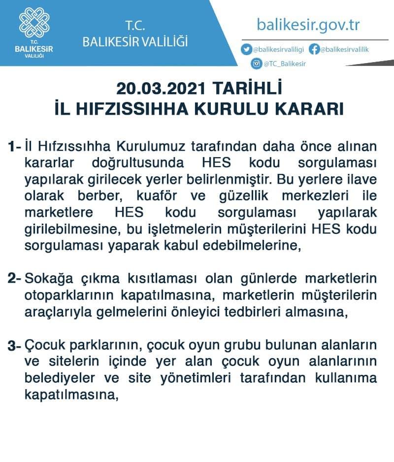 BALIKESİR VALİLİĞİ'NDEN AÇIKLAMA